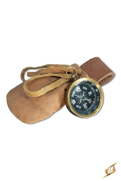 Brass Compass with Leather Pouch