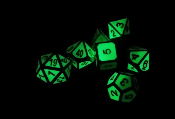 Metal Glow in the Dark Dice